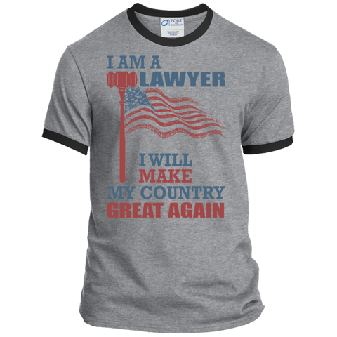 I Am A Lawyer. Port & Co. Ringer Tee-Men T-Shirt-I Share Guru
