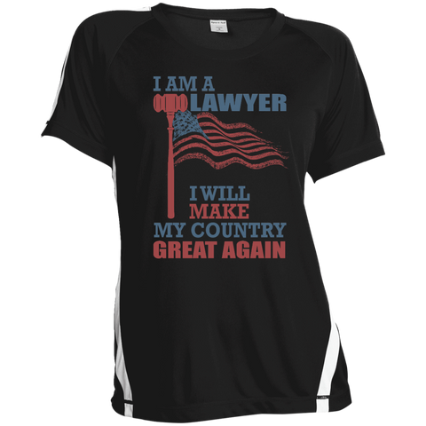 I Am A Lawyer. Sport-Tek Ladies' Colorblock Polyester T-Shirt-Women T-Shirt-I Share Guru