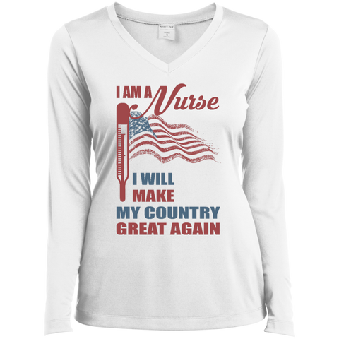 I Am A Nurse. Sport-Tek Ladies' Long Sleeves V-Neck T-Shirt-Women Long Sleeves-I Share Guru