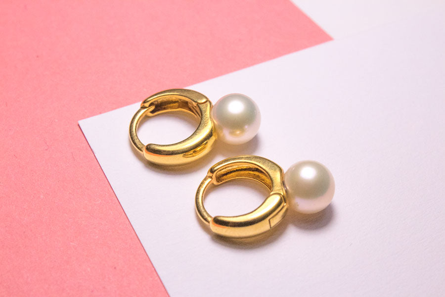 Chunky Pearl Hoop Earrings