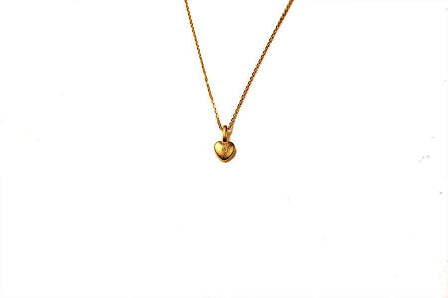 Mini Heart Necklace Gold