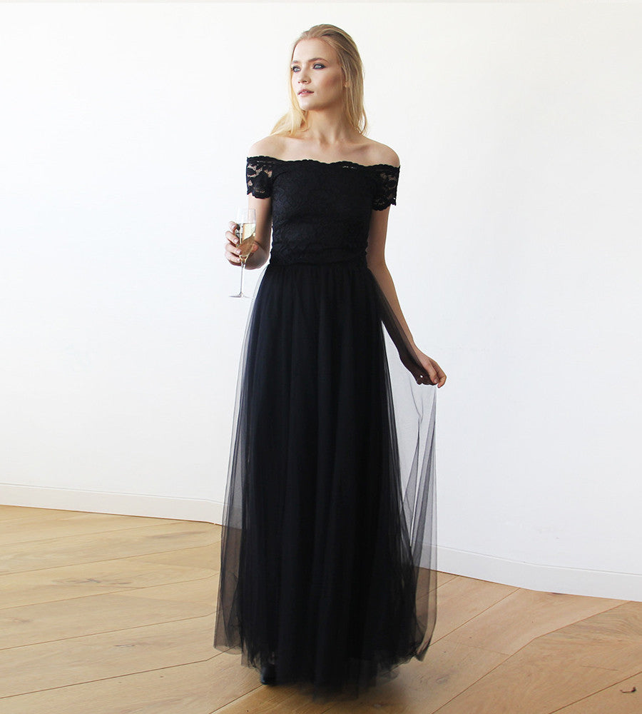 12fa3eff0950 Black Lace off-shoulders short sleeves maxi tulle dress - My Weddi ...