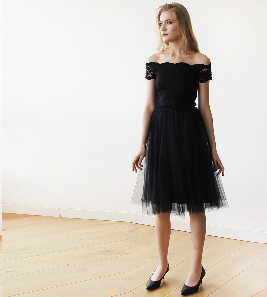 385d47bed414 Black Off-the-Shoulders Tulle   Lace Midi Short Sleeves Dress -My ...