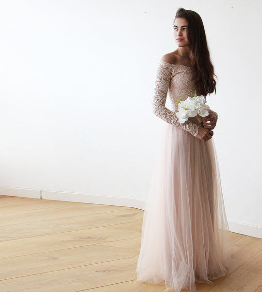 Blush Pink Off-The-Shoulder Lace and Tulle wedding gown - My Weddi ...