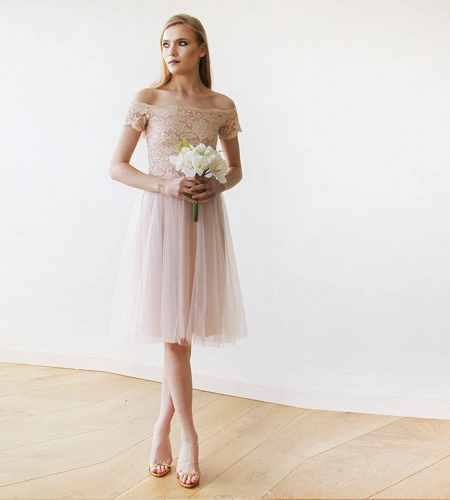 Blush Pink Off-the-Shoulders Tulle & Lace Midi Short Sleeves Dress ...