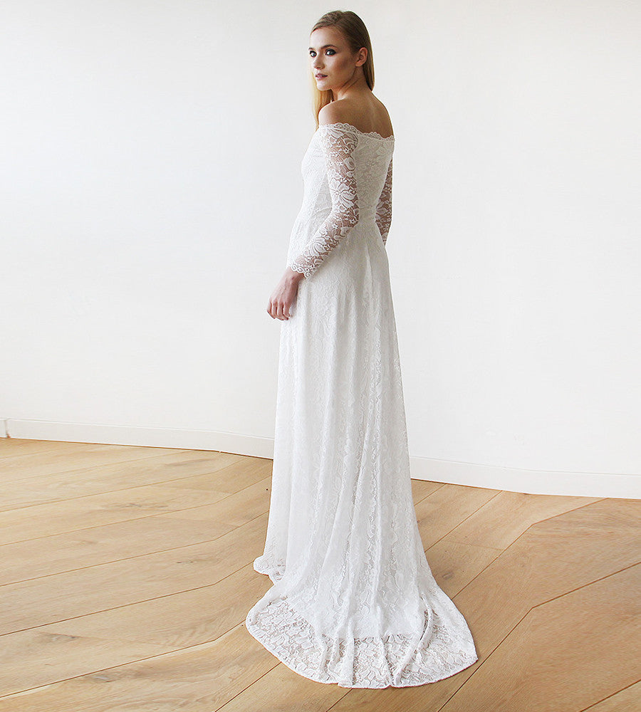 1772a61d7c2 Ivory Off-The-Shoulder Floral Lace Long Sleeve Maxi Dress With a Train -  1148