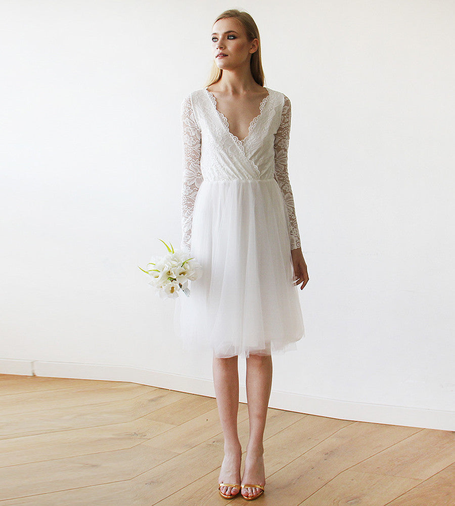 Ivory Tulle & Lace Midi Long Sleeves Dress   My Weddi   my weddi