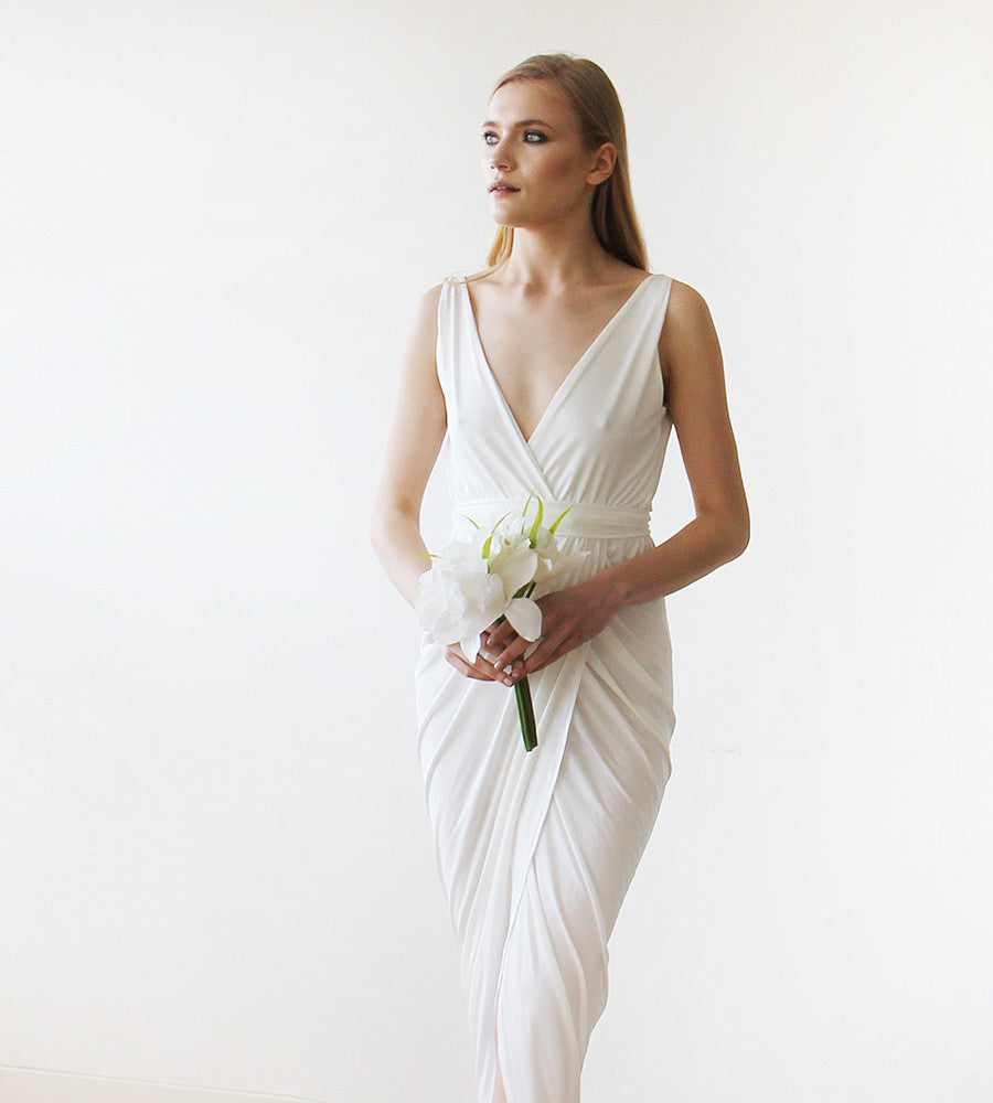 Ivory Wrap Tulip Dress with V Neckline - My Weddi - my weddi