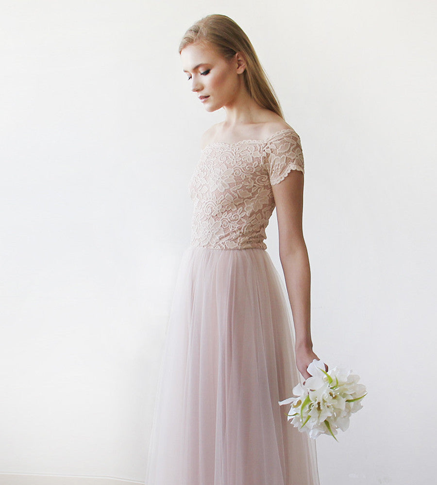 Lace off-shoulders short sleeves maxi blush tulle dress - My Weddi ...