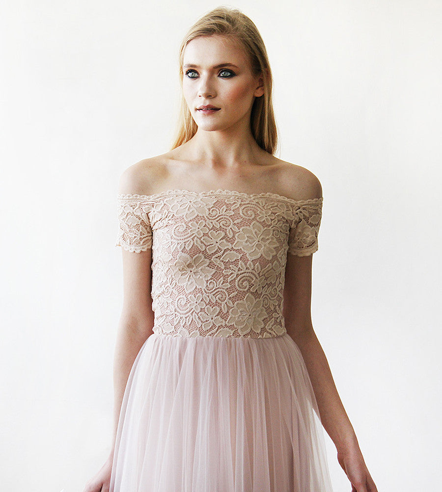 a25e385e71e6 Lace off-shoulders short sleeves maxi blush tulle dress - My Weddi ...