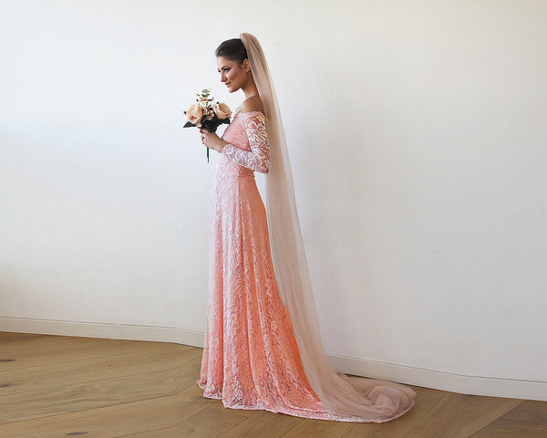 ea47012e79 Pink Off-The-Shoulder Floral Lace Long Sleeve Gown With Train - My Weddi -  my weddi