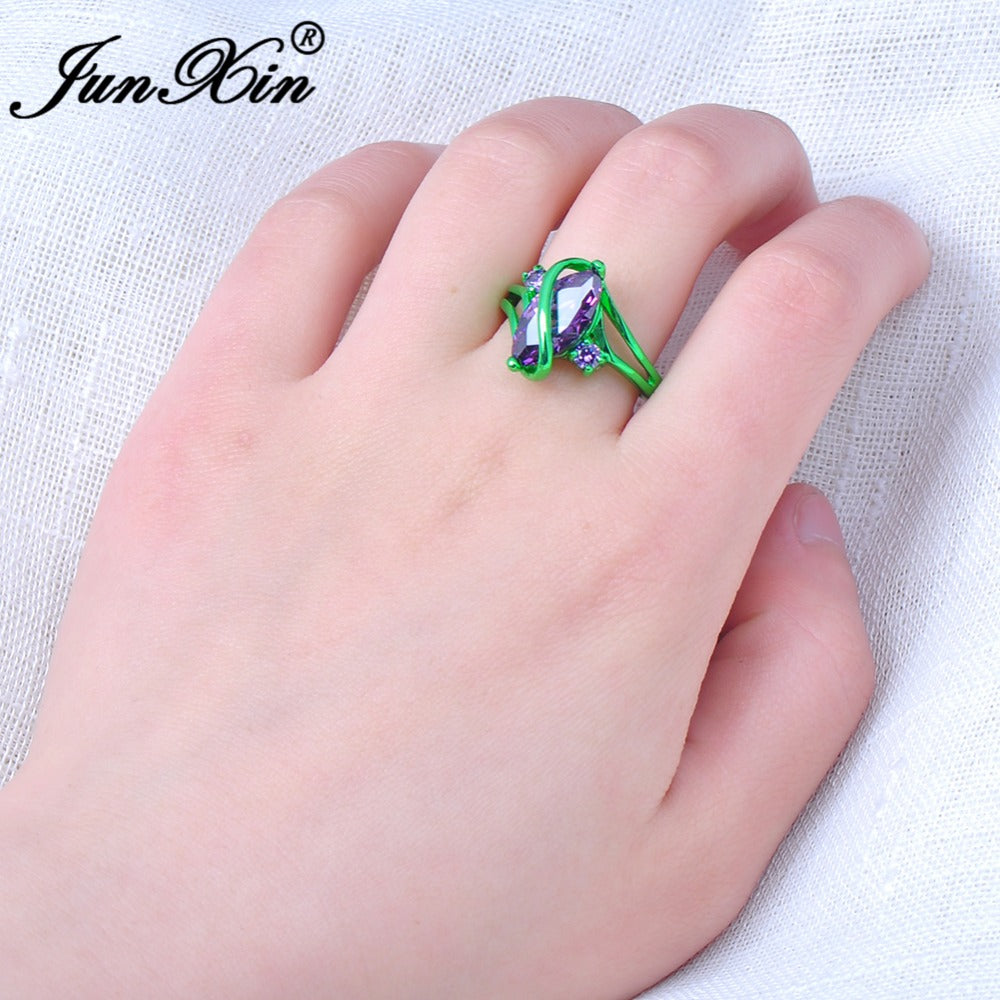 Male Female Pruple Ring Green Gold Filled Vintage Wedding Engagement ...