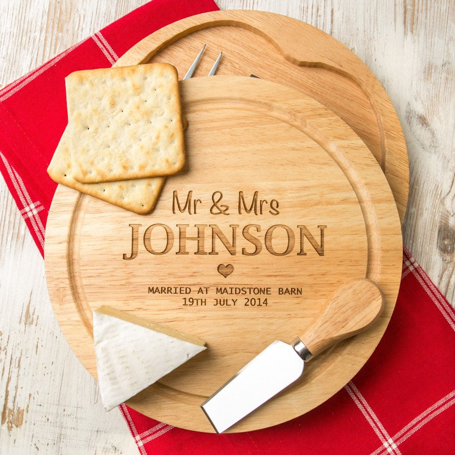 Personalised Wedding Cheese Board and Knife Set - Gifts~From~Dawn