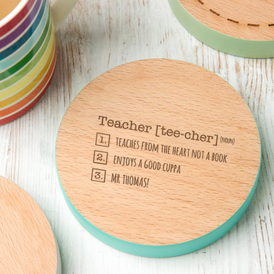 Thank You Teacher - Coaster - Personalised - Gifts~From~Dawn