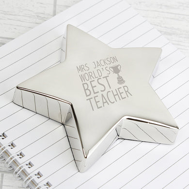 Personalised Teacher Trophy Star Paperweight - Gifts~From~Dawn