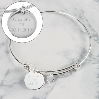 Personalised Silver Disc and Heart Charm Bracelet - Gifts~From~Dawn