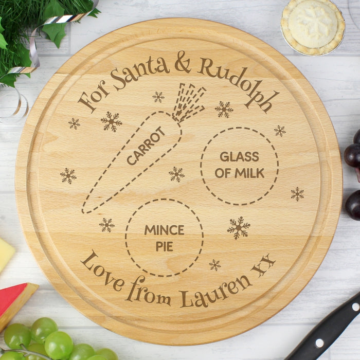 Personalised Christmas Eve Round Treats Board - Gifts~From~Dawn