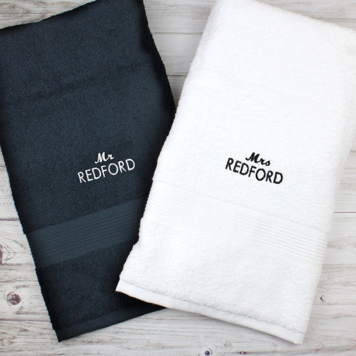 Personalised Mr & Mrs Black and White Bath Towel Set - Gifts~From~Dawn