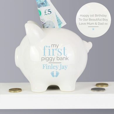 Personalised My First Piggy Bank Pink/Blue - Gifts~From~Dawn