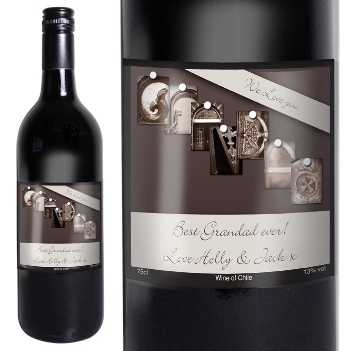 Personalised Affection Art Grandad Red Wine - Gifts~From~Dawn