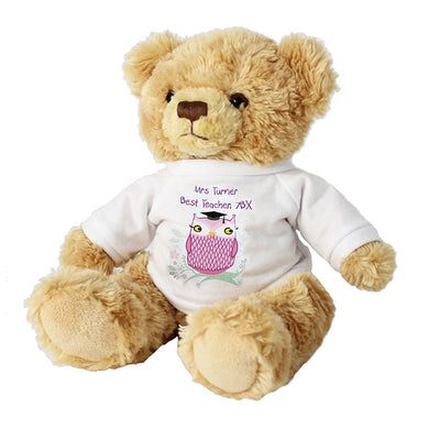 Personalised Miss Owl Teacher Message Bear - Gifts~From~Dawn