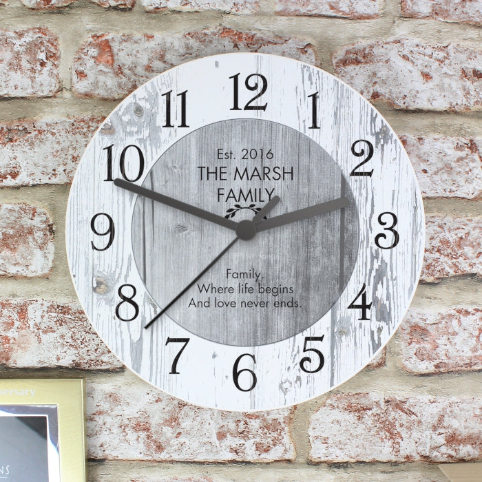 Personalised Shabby Chic Large Wooden Clock - Gifts~From~Dawn