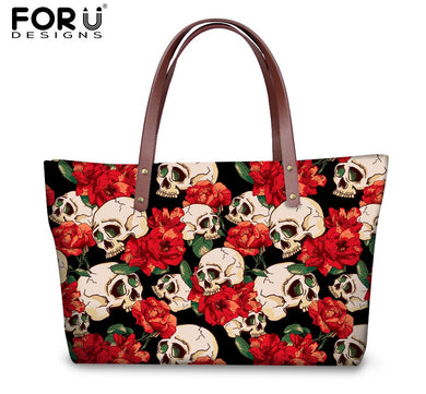 Rose Skull Printed Large Tote Bag - Gifts~From~Dawn