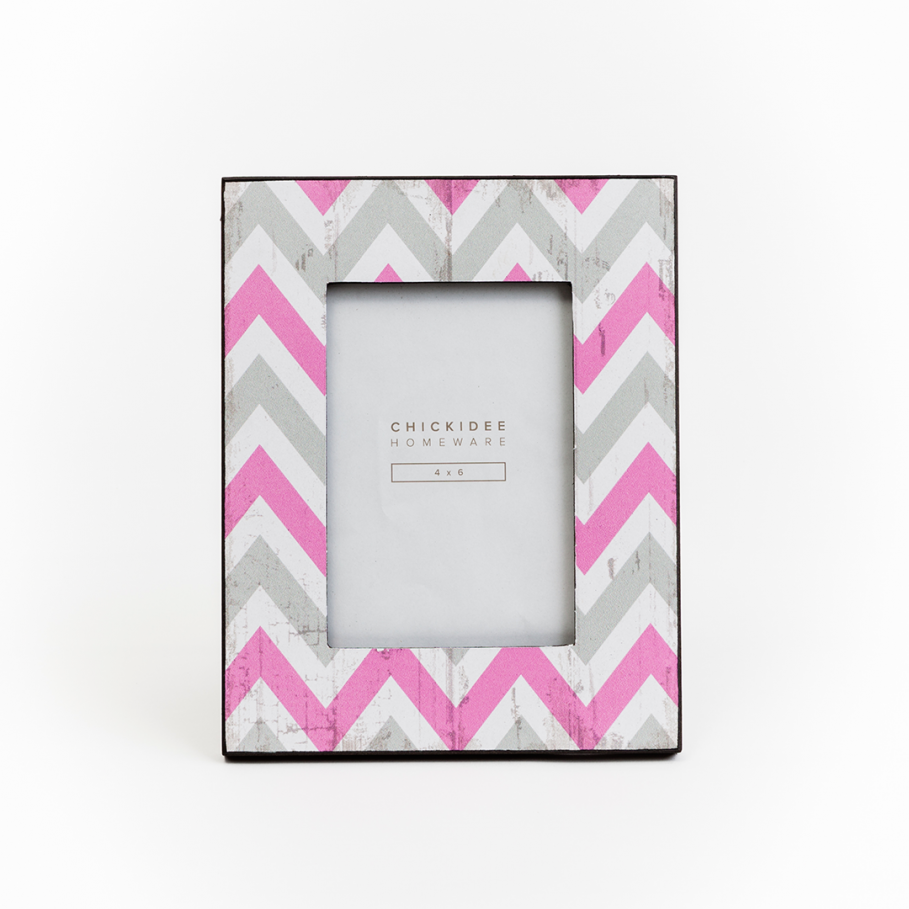 Geometric Zig-Zag Grey and Pink Photo Frame - Gifts~From~Dawn