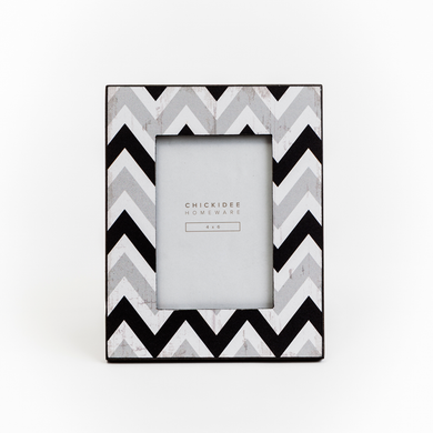 Geometric Zig Zag Black and Grey Photo Frame - Gifts~From~Dawn