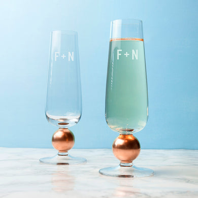 Personalised LSA Set Of Two Rose Gold Champagne Glasses - Gifts~From~Dawn