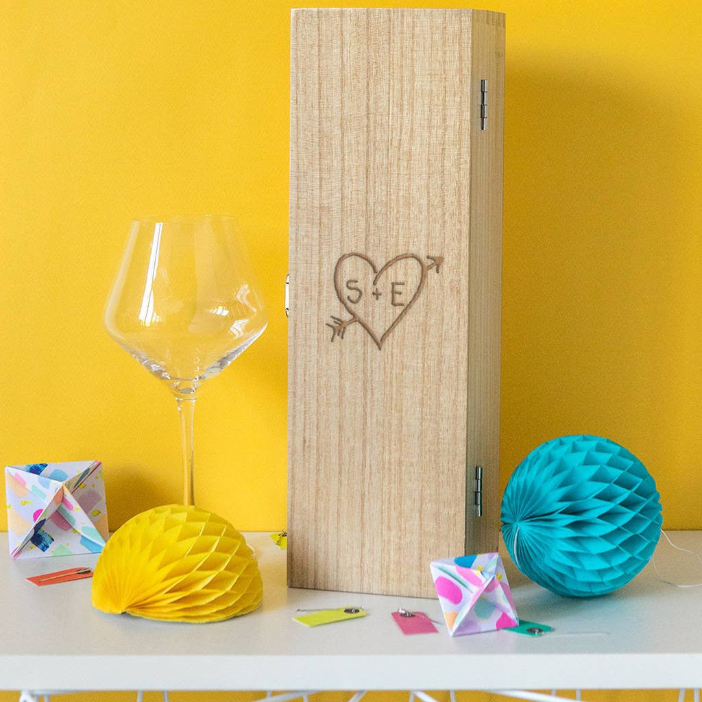 Initials - Wooden Wine Box - Personalised - Gifts~From~Dawn