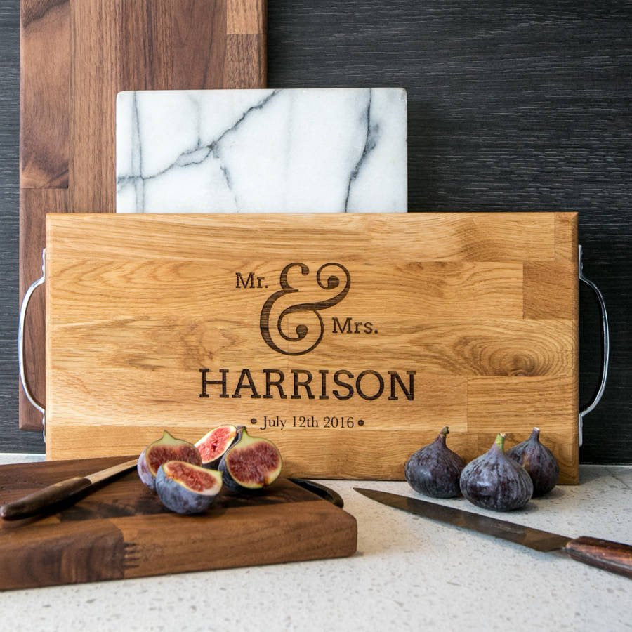 Personalised Large Oak or Walnut Wedding Chopping Board - Gifts~From~Dawn