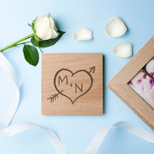 Engraved Carved Heart Oak Photo Cube - Gifts~From~Dawn