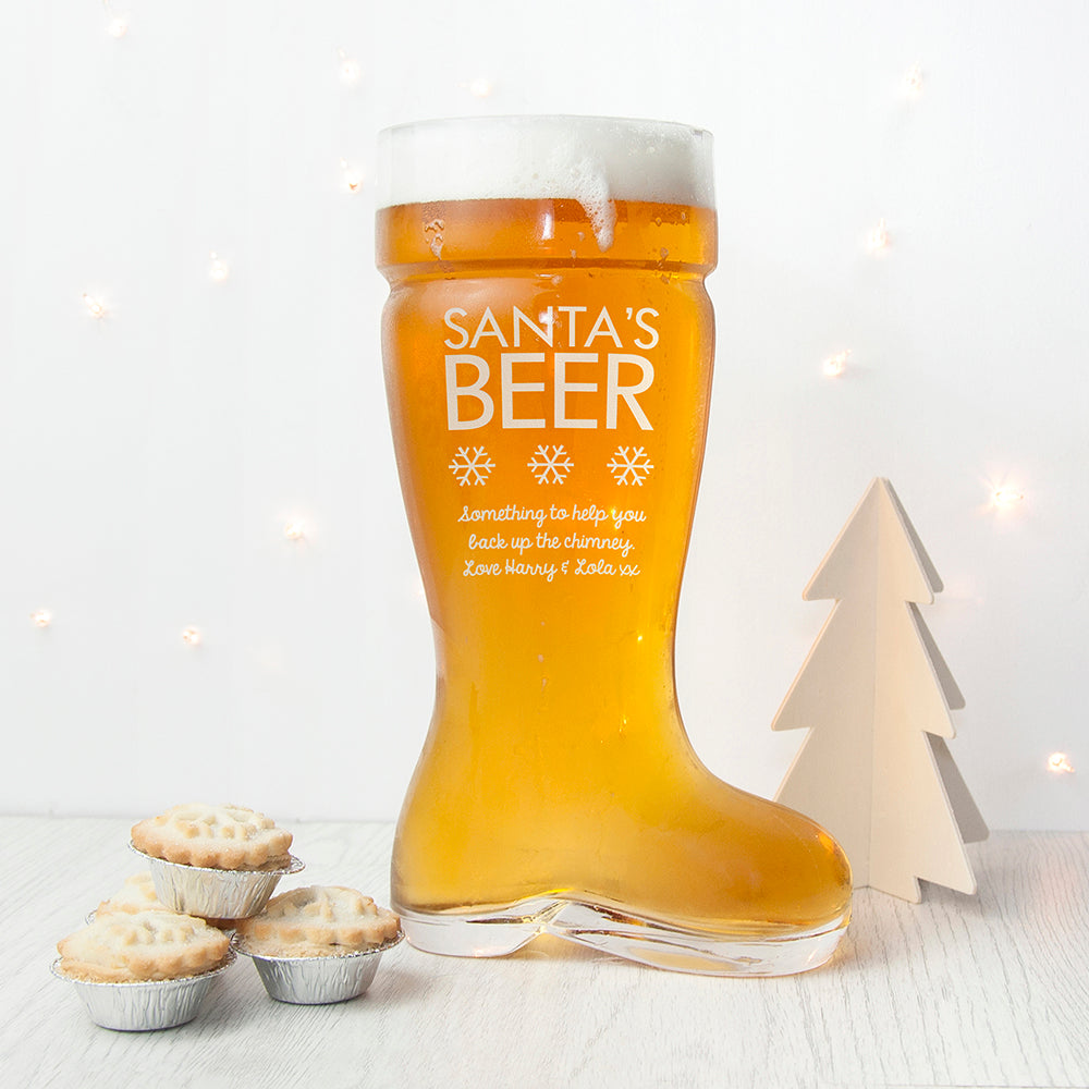 Personalised Large Santa's Boot Beer Glass - Gifts~From~Dawn