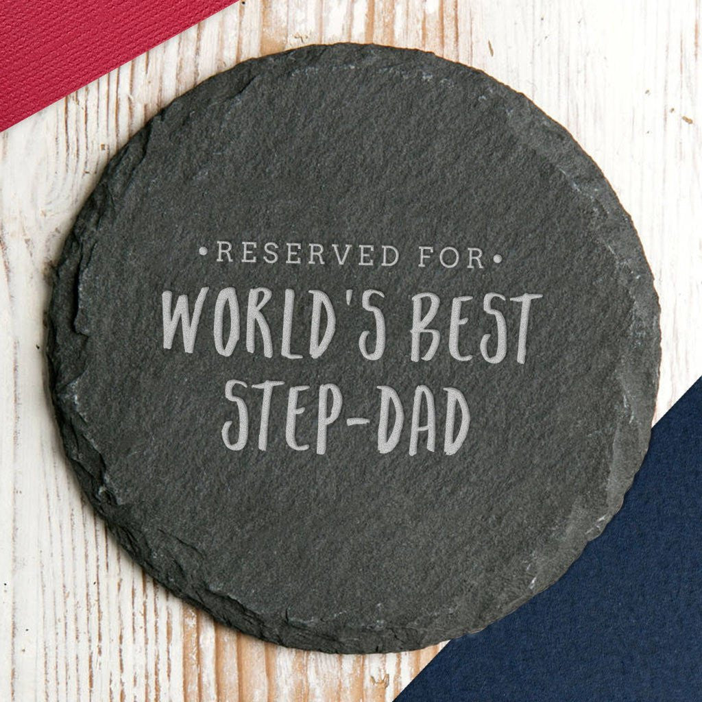 Worlds Best Step Dad - Slate Coaster - Gifts~From~Dawn
