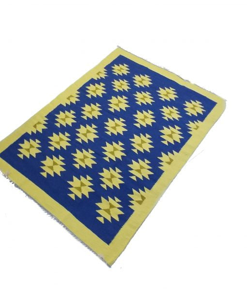 Blue and Yellow Oriental Wool Kilim - Sphinx Rugs