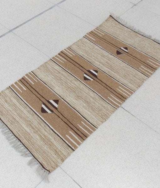 Natural Sheep Color Geometric Kilim with Fringe - Sphinx Rugs