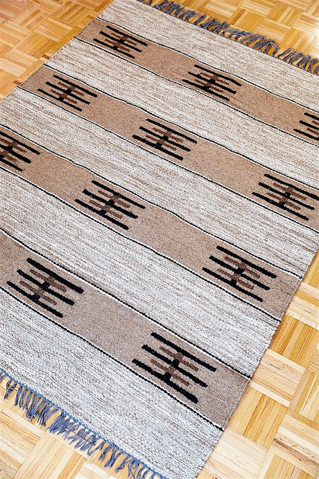 Natural Sheep Color Minimalistic Kilim made of undyed wool - Sphinx Rugs