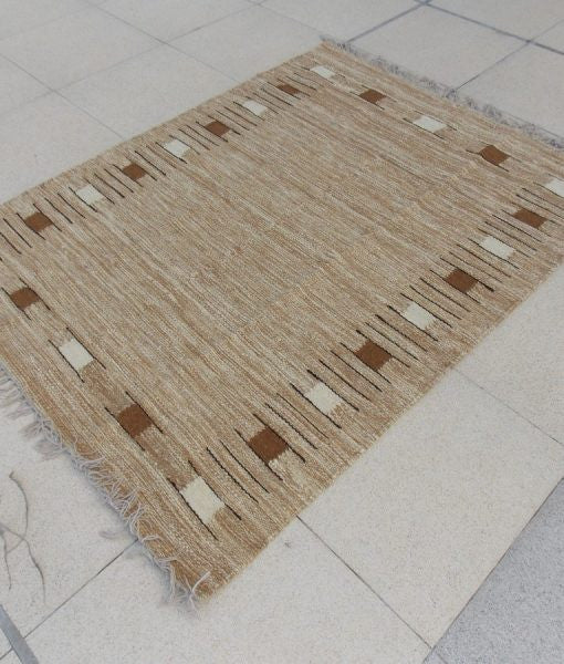 Natural Sheep Color Squares Kilim with Fringe - Sphinx Rugs