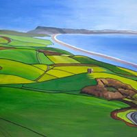 View Towards Chesil Beach & Portland - Annabel Glassby Prints