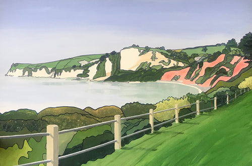 Seaton Towards Beer Cliffs - Annabel Glassby Prints