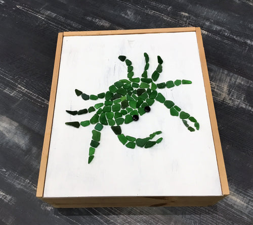 Crab Sea Glass Mosaic on wooden box