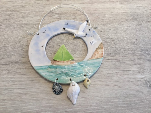 Boat & Seagull Ring Hanging