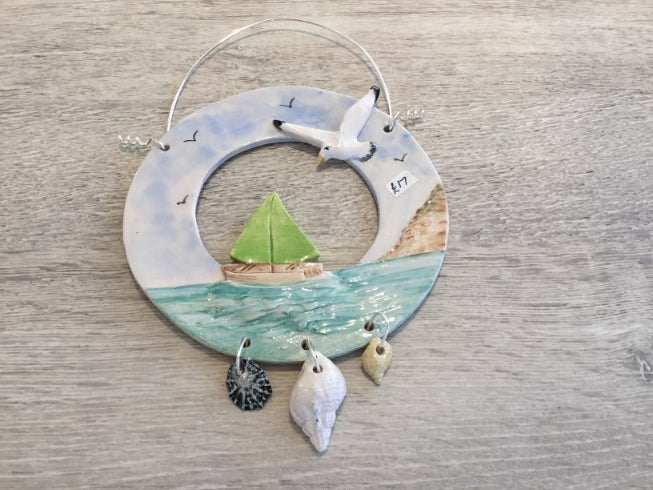 Sail Boat & Seagull Ring Hangings