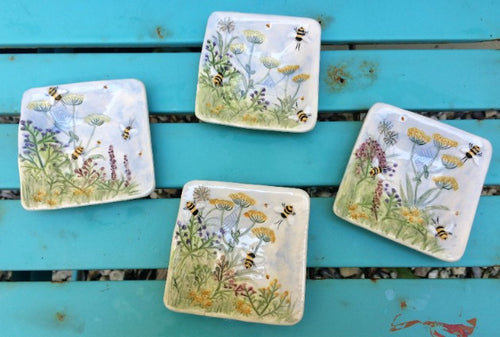 Small Square Meadow & Bee Dishes