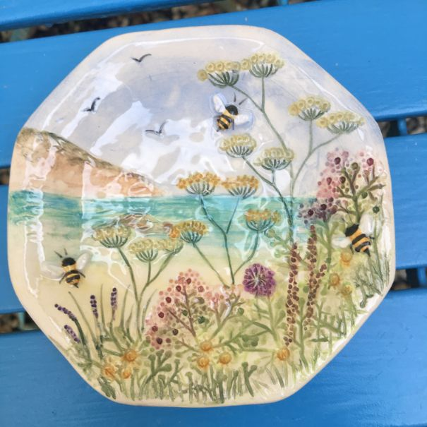 Large Octagonal Sea, Bee & Meadow soap dish