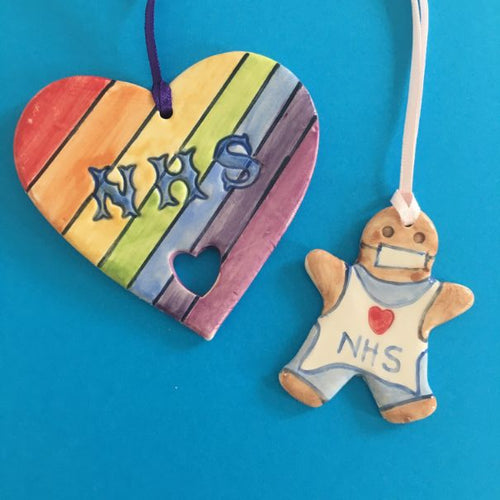 NHS Ceramic Heart & Gingerbread Man Decorations