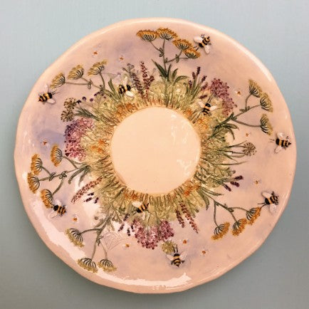 Round Meadow & Bee Candle Dishes