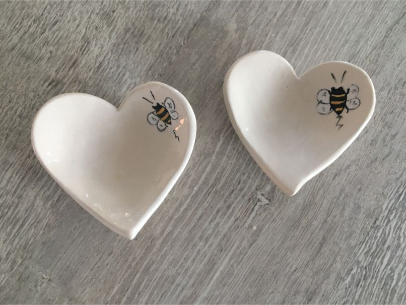 Small Heart Shaped Bee Dish