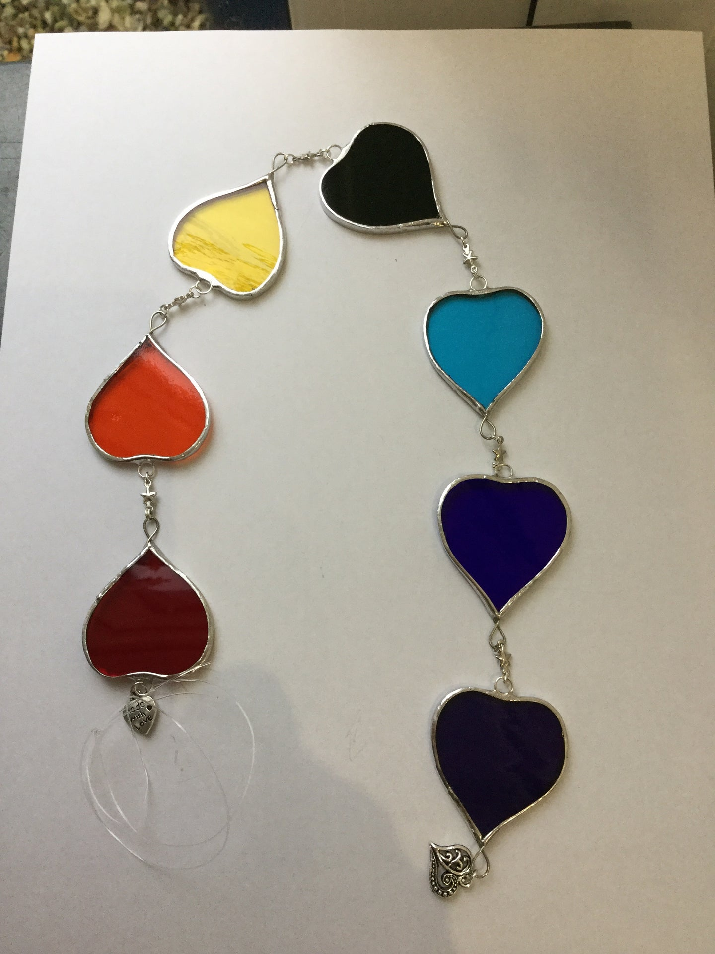 Devon Glass Studio String of 7 Hearts